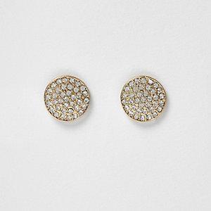 Gold tone medium gem pave stud earrings
