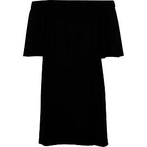 Black velvet bardot swing dress