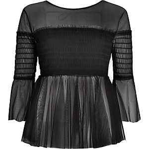Black mesh pleated smock top