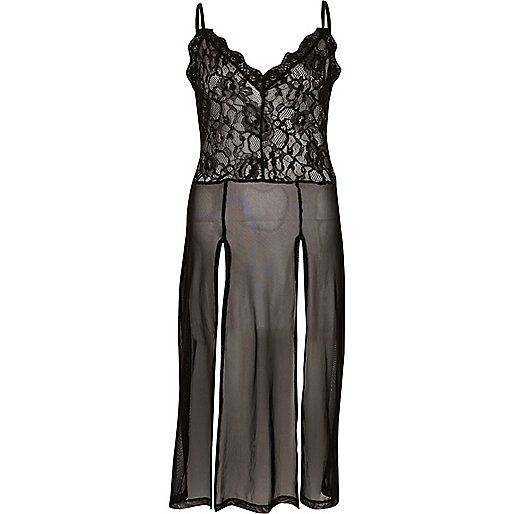 Black tulle lace split slip dress