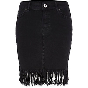 Black washed frayed hem denim skirt