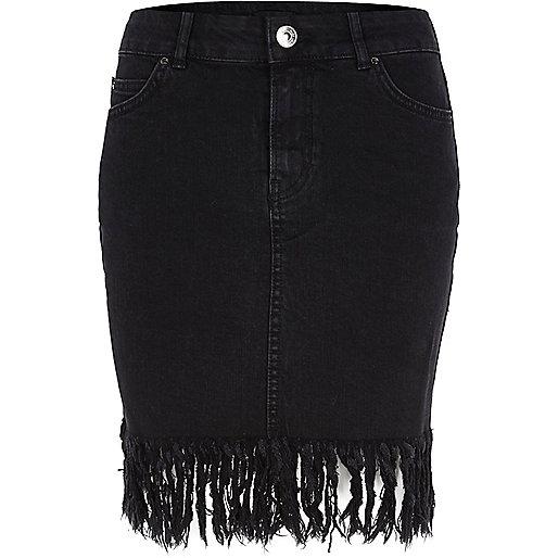 Black washed frayed hem denim skirt
