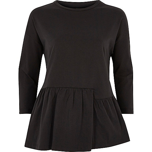 Black split peplum top