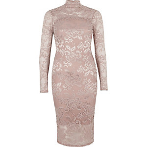 Light pink lace turtleneck bodycon dress