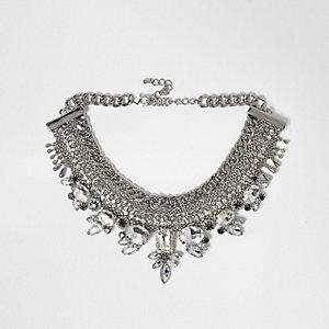 Silver tone embellished pave choker necklace