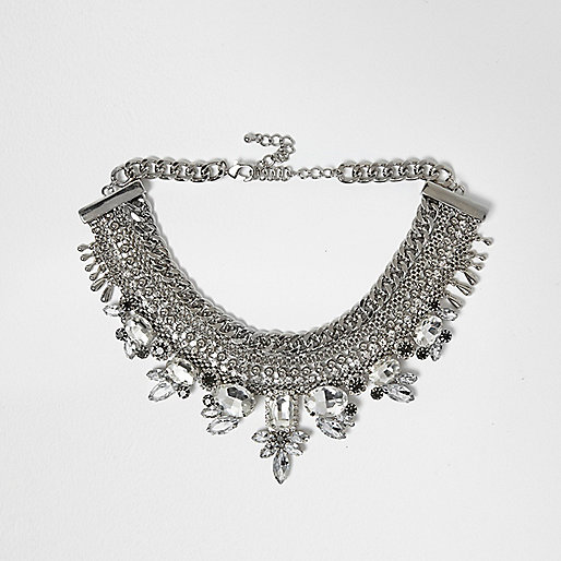 Silver tone embellished pave choker necklace