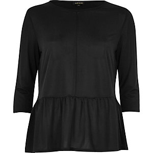 Black soft peplum top