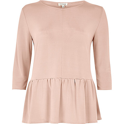 Pink soft peplum top