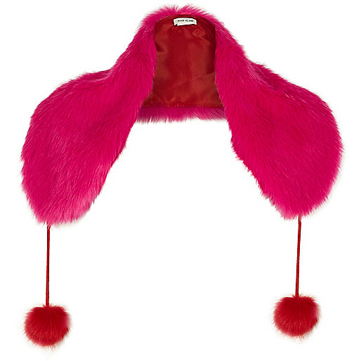 Pink and red faux fur pom pom tippet