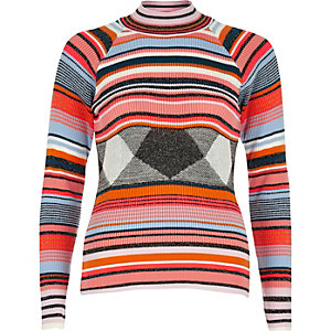 Orange stripe turtleneck jumper