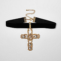 Gold tone embellished drop cross choker