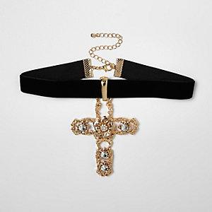 Gold tone embellished drop cross choker