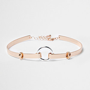 Rose gold tone circle choker
