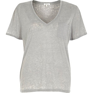 Grey V-neck burnout T-shirt
