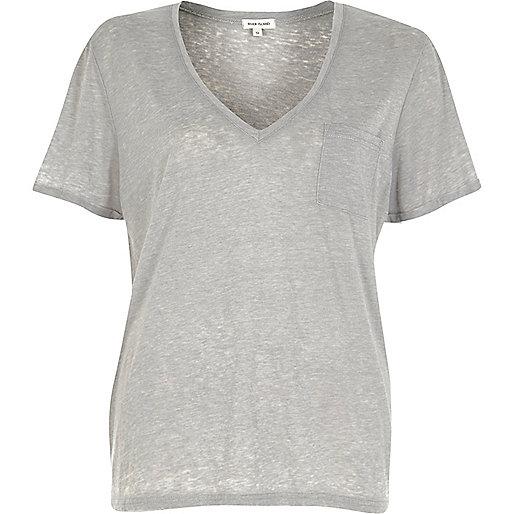T-shirt gris effet burnout à col en V