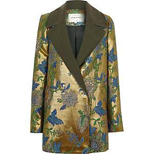 Gold jacquard floral blazer coat