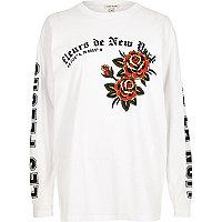 White 'Fleur' print long sleeve T-shirt