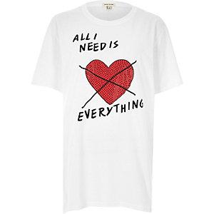 White glitter heart print boyfriend T-shirt