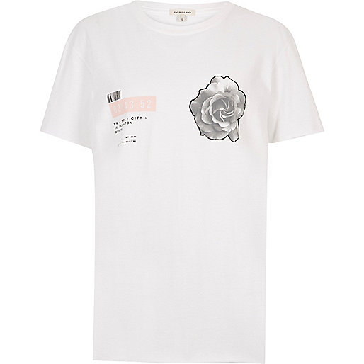 White gloss print rose T-shirt