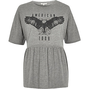 Grey print soft peplum T-shirt