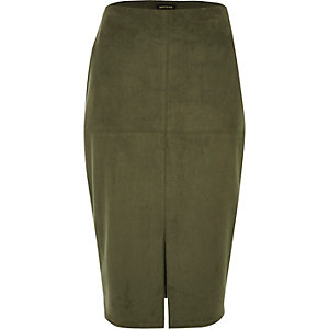 Khaki green split faux suede pencil skirt