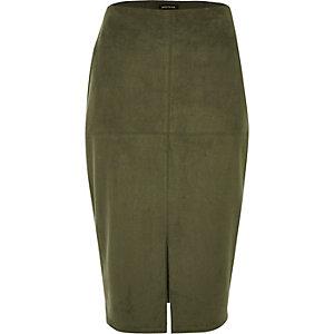 Khaki green split faux suede pencil skirt