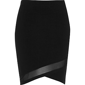 Black knit mesh panel mini skirt