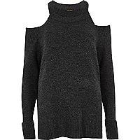 Dark grey knit cold shoulder jumper