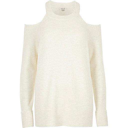 Cream knit choker cold shoulder sweater