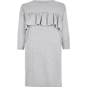 Grey frill panel oversized T-shirt