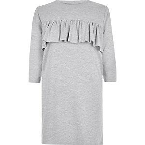 Grey frill panel oversized T-shirt