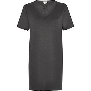 Dark grey harness neck oversized T-shirt