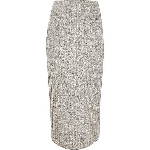 Grey ribbed knit midi skirt
