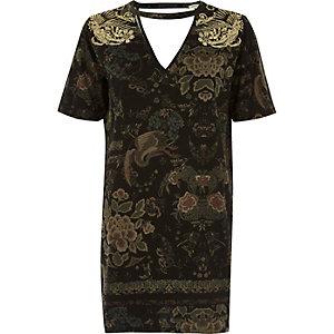 Oversized-T-Shirt in Khaki-Metallic