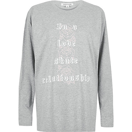 Grey skate print top