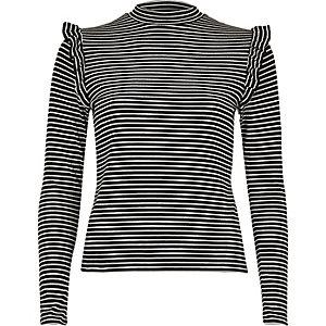 Black stripe frill turtleneck top