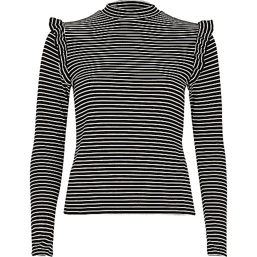 Black stripe frill turtleneck top