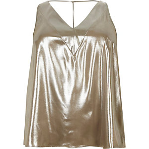 RI Plus gold strap back cami top