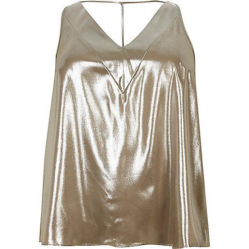 Plus gold T-bar cami top