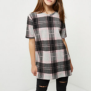 Pinkes, kariertes Oversized-T-Shirt