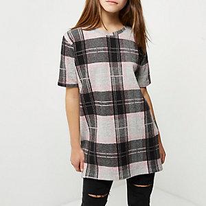 T-shirt oversize Petite à carreaux rose