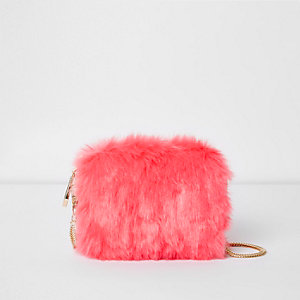 Pink faux fur mini cross body bag