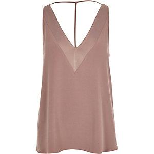 Dark pink textured T-bar cami top