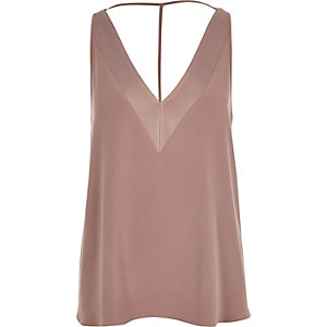 Dark pink textured T-bar cami top