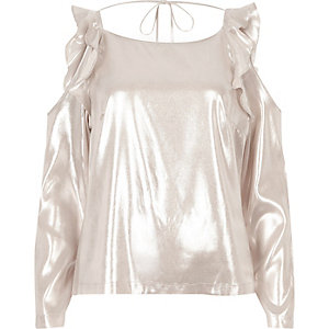 Metallic pink frill cold shoulder top