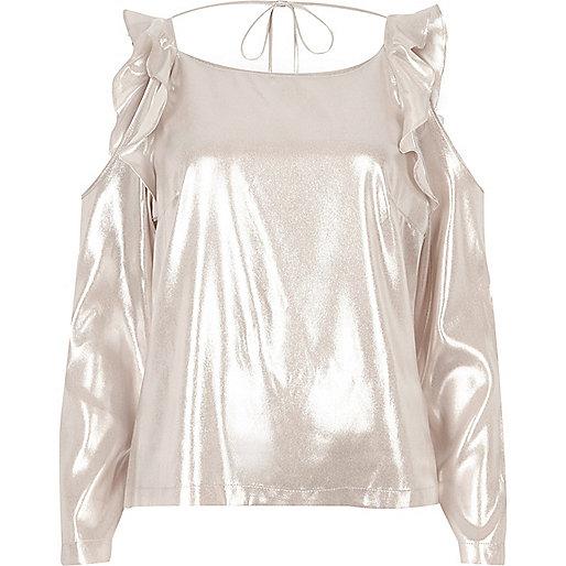 Metallic pink frill cold shoulder top