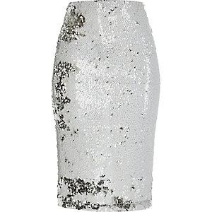Weißer Pailletten-Bleistiftrock