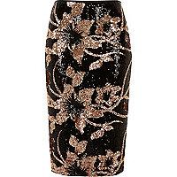 Black floral sequin pencil skirt