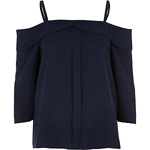 Navy placket cold shoulder top