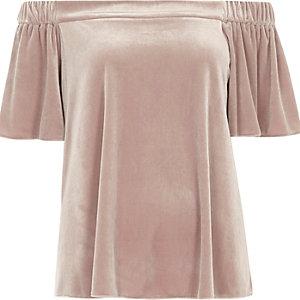 Pink velvet bardot top